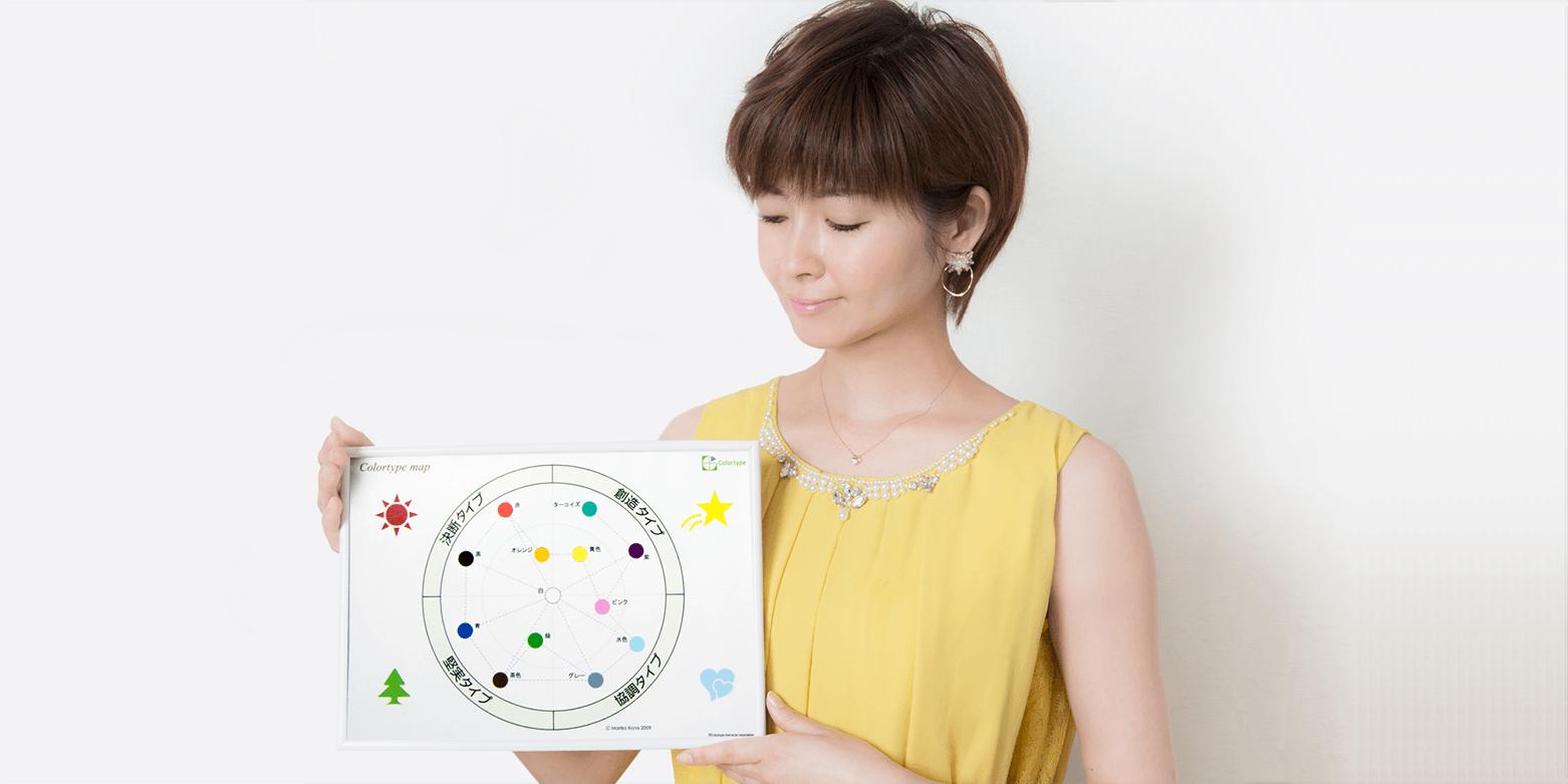 南川真輝がカラータイプの表を持っている画像です。